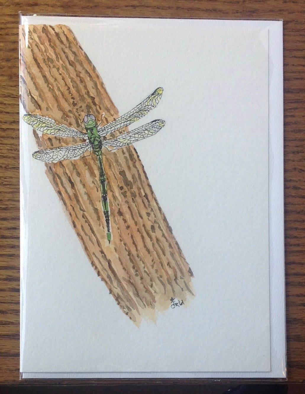 Greeting Card Dragonfly Watercolor Hand Painted Greeting Card