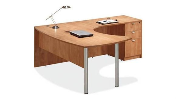 Arc Top L Shaped Desk Honey   Right Return By Office Source   1 800