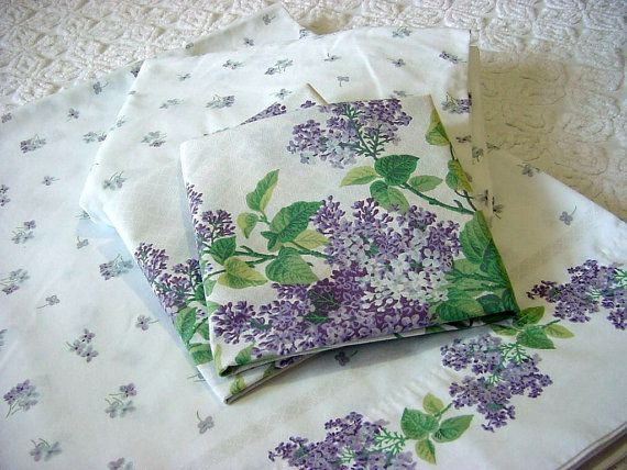 Spring Lilacs Vintage Full Bed Sheet Set Flat Fitted 2 Pillowcases Lavender Purple White Flor Luxury Bedding Master Bedroom Full Bed Sheets Flower Sheets