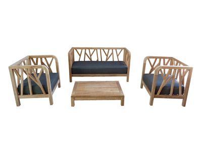 Salon de jardin Teck Brut : 1 canapé + 2 fauteuils + table basse ...