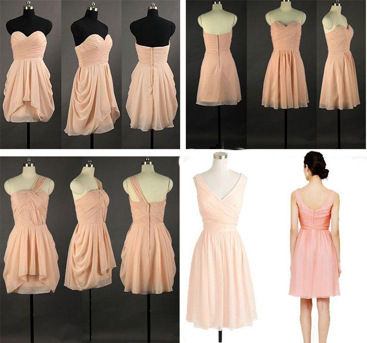 peach short bridesmaid dresses uk on Kissprom