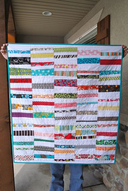 Easy Strip Quilt Pattern From Woodberryway Quiltstory Strip Quilt Patterns Free Baby Quilt Patterns Strip Quilts