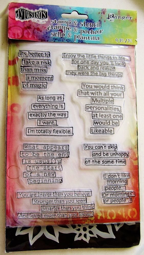 Quote Medley Clear Acrylic Stamp Stencil Set By Dylusions Stamps Dyz45847 Clear Acrylic Stamps Dylusions Stencils