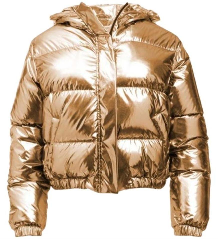 Alice Olivia Gold Durham Metallic Hooded Puffer Jacket Size 4 S In 2020 Jackets Puffer Jackets Puffer [ 960 x 874 Pixel ]