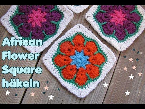 African Flower Granny Squares häkeln, Quadrat, super schön ...