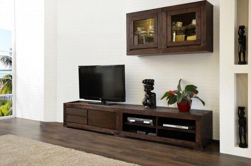 Möbel Direkt wohnwand tecky 4 teilig massiv holz moebel akazie schrankwand