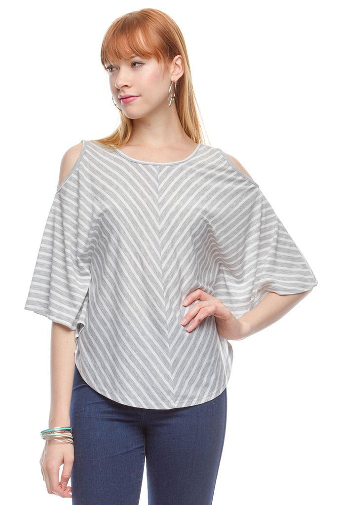 Ya 34 Length Sleeve Knit Top With Open Shoulder Detail