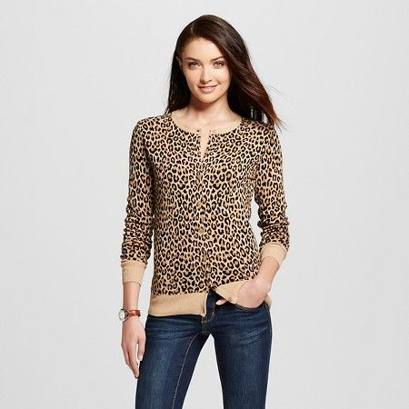 Women's Favorite Cardigan Long Sleeve Animal Print - Merona ...