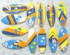 Different style surfboards in frame for a baby's room
