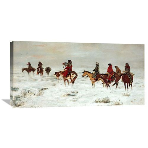 Lost In A Snowstorm We Are Friends By Charles M. Russell, 36 X 18-Inch Wall Art