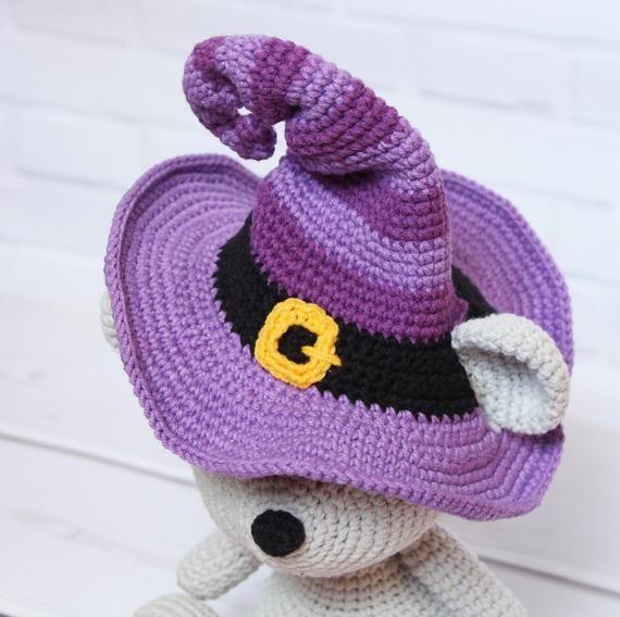 Halloween crochet toy Amigurumi pattern Crochet bear in witch hat pattern Halloween pumpkin Crochet PDF tutorial Amigurumi toy Knitting toy #crochetbear