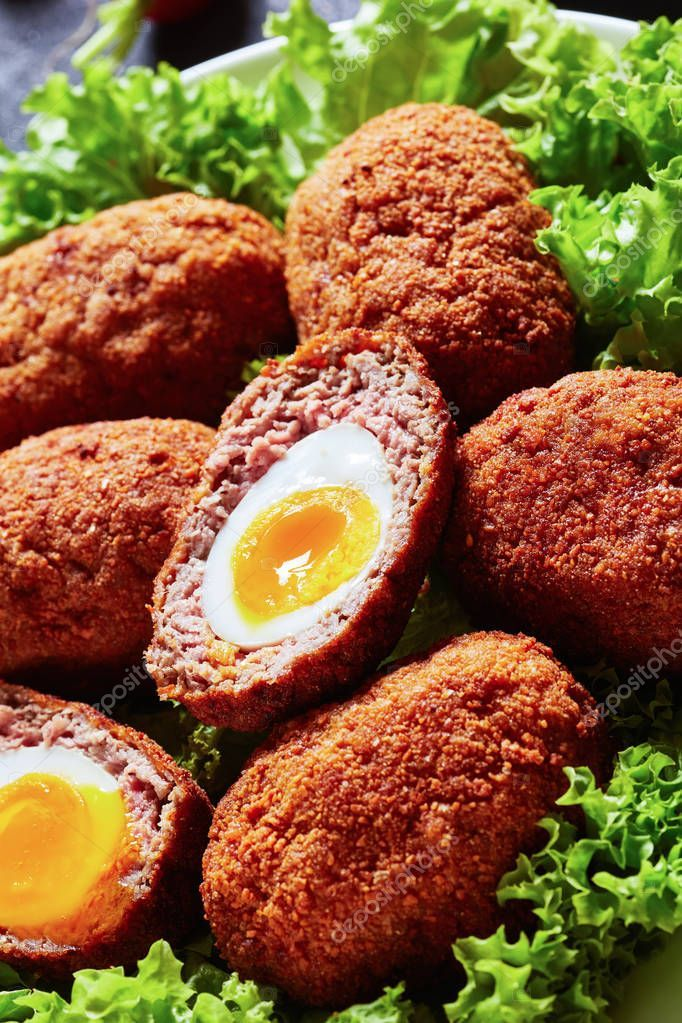 Close-up of scotch eggs. top view, macro - Stock Photo , #AFF, #eggs, #top, #Close, #scotch #AD #scotcheggs