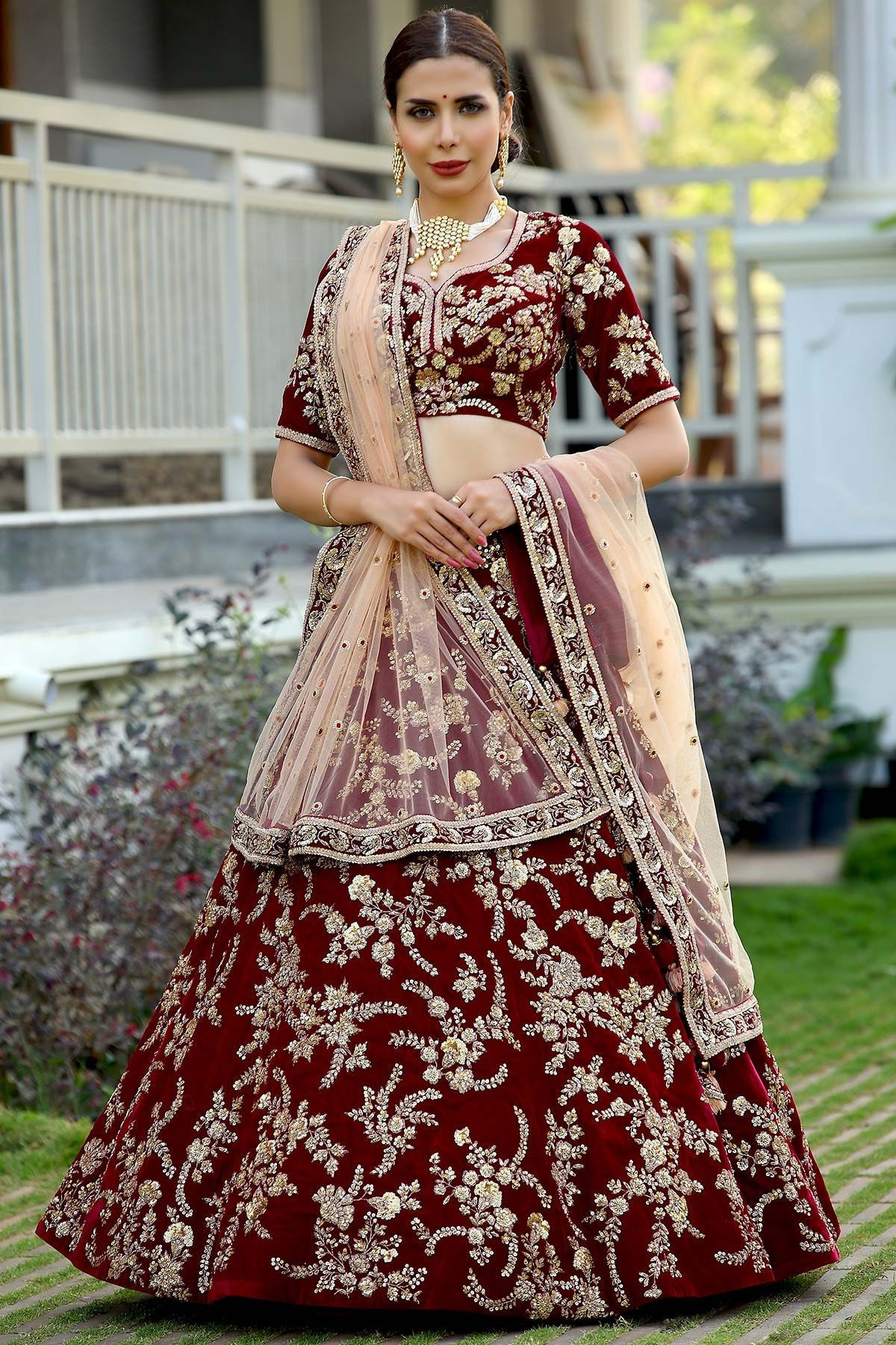 Buy maroon sequins embroidered velvet bridal lehenga