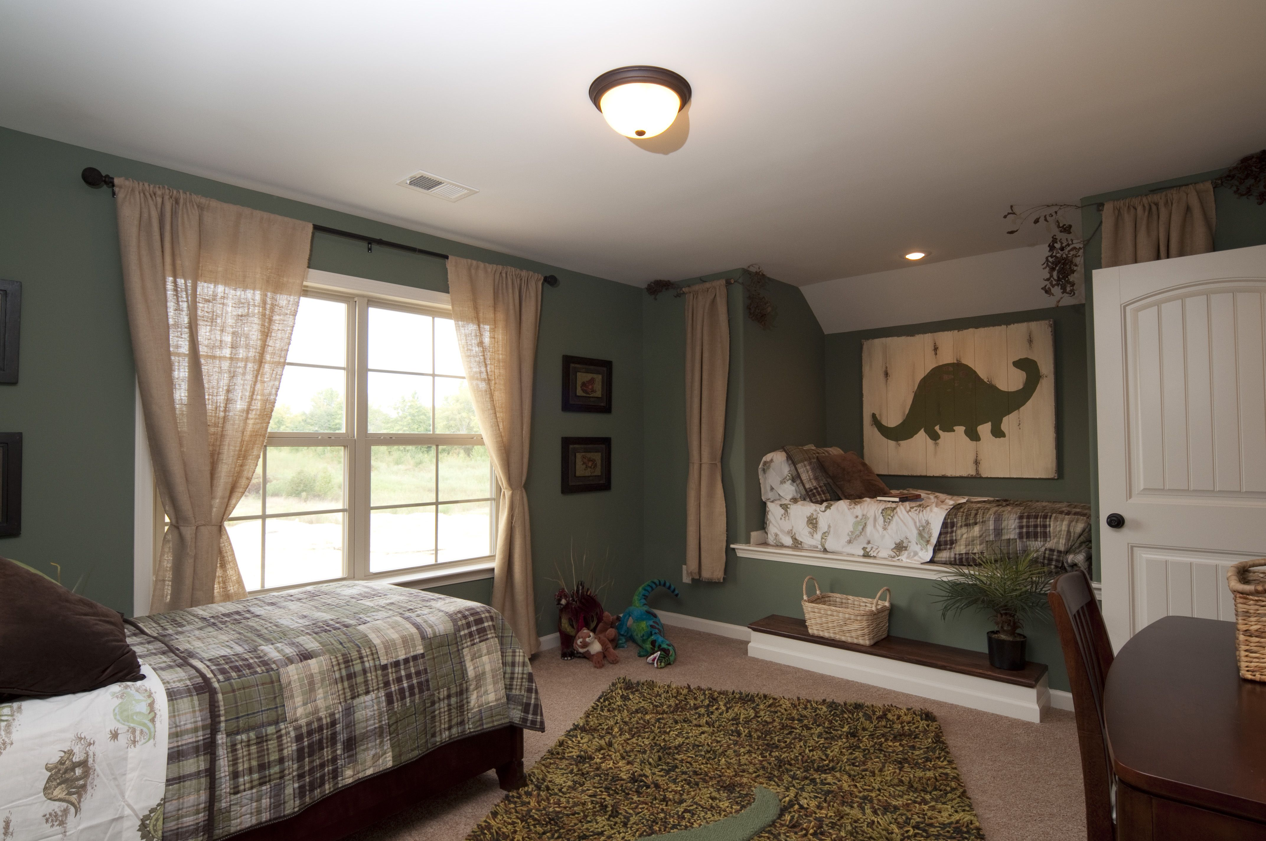 Boys Dinosaur Room with Built in Bed ok sliding curtains maybe