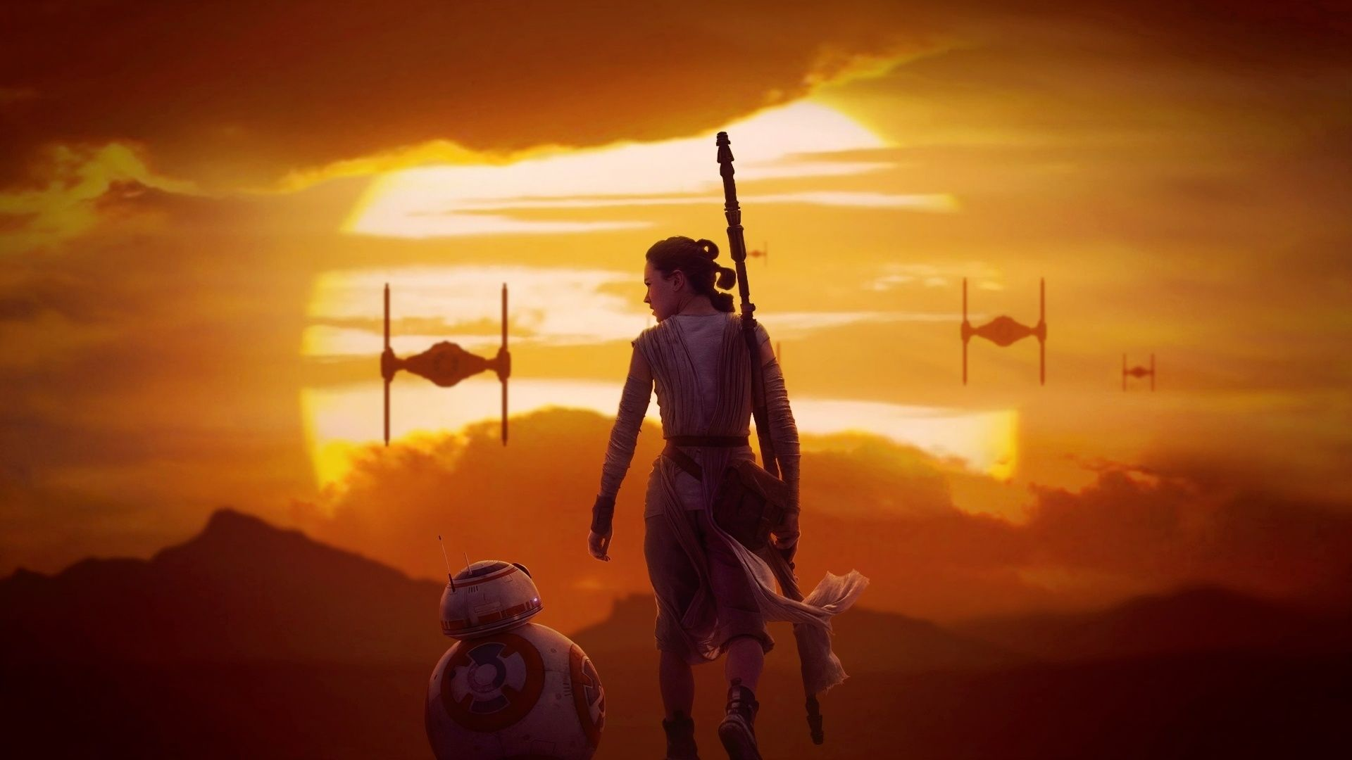 rey at sunset star wars the force awakens wallpaper rey and bb 8 star wars 7