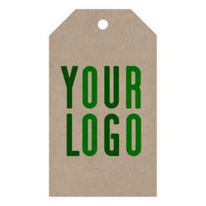 Promotional your company or event green logo kraft gift tags