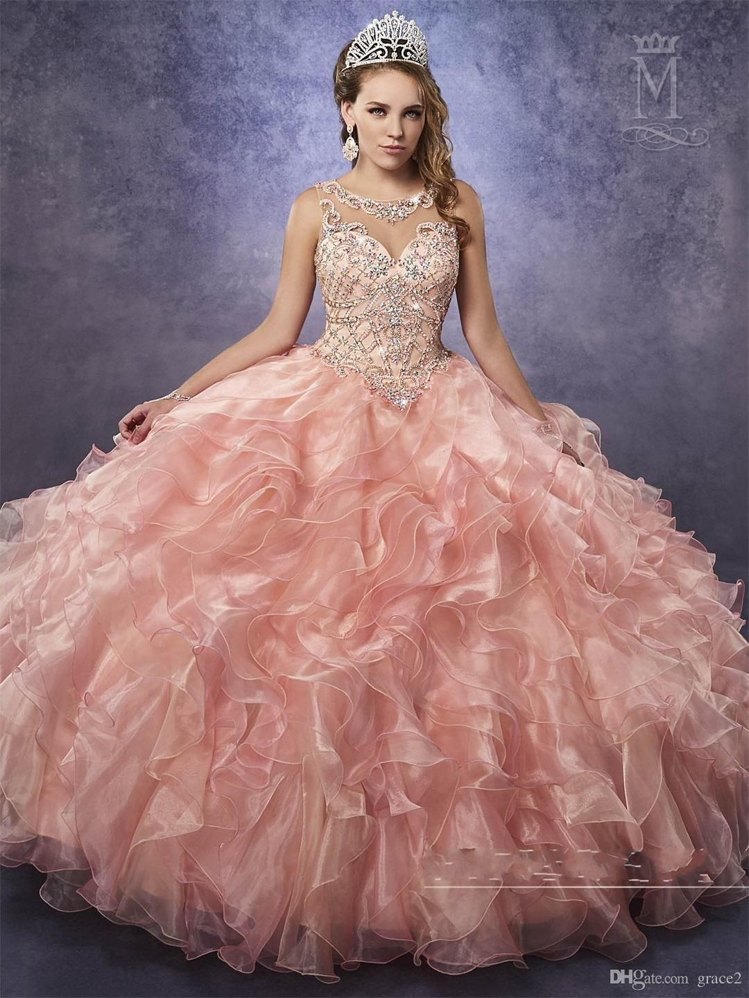 db945e6c89e0f Cheap Quinceanera Dresses 2017 Mary's Princess with Illusion Neck And  Cascading Ruffles Organza Skirt Beautiful Peach Vestido 15 Anos Vestidos De  15 Anos ...