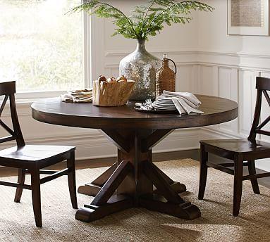 benchwright fixed round pedestal, rustic mahogany stain, Esstisch ideennn
