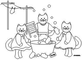 Three Little Kittens Coloring Sheets