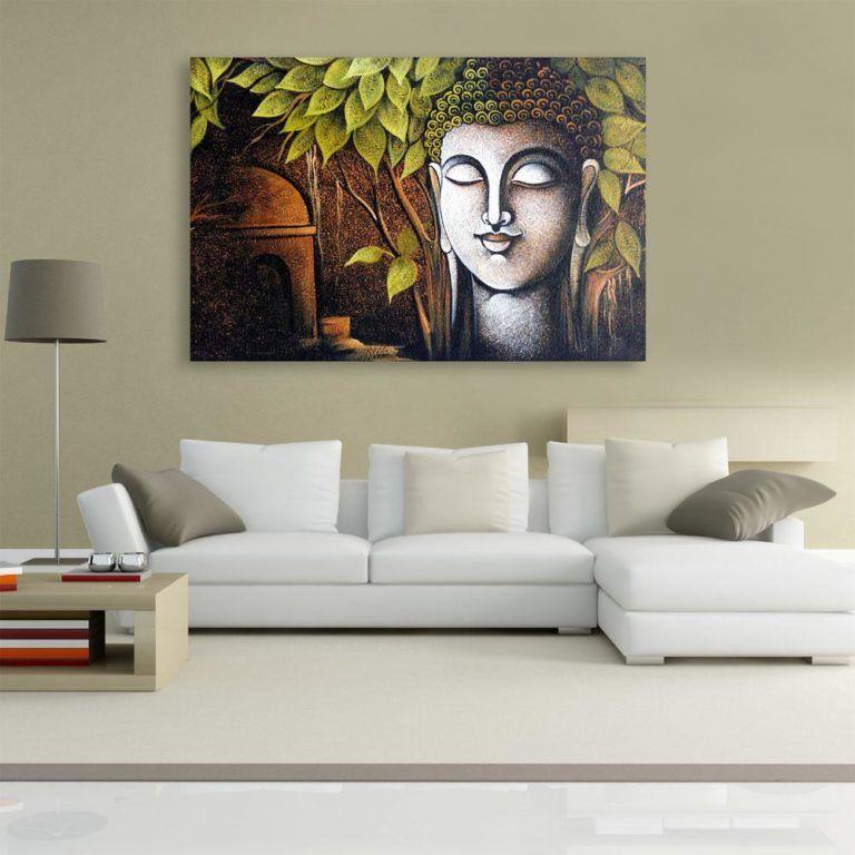 Canvas Painting Beautiful Buddha Art Wall Painting For Living Room Bedroom Office Hotels Drawing Room 91cm X 61cm Inephos Buddha Art Painting Buddha Painting Canvas Buddha Art Paintings for living room vastu