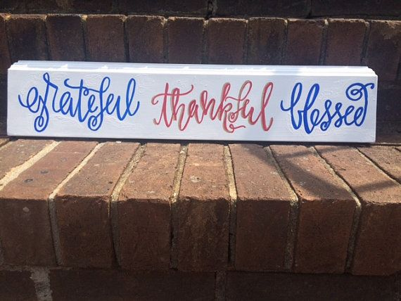 TAKE 20% OFF use code PINNER - faux wooden Hand-Painted Grateful Thankful by Kendraspondence