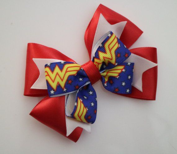 GIRLS,TODDLER WONDER WOMAN BOUTIQUE HAIR BOW KIDS BOW HANDMADE