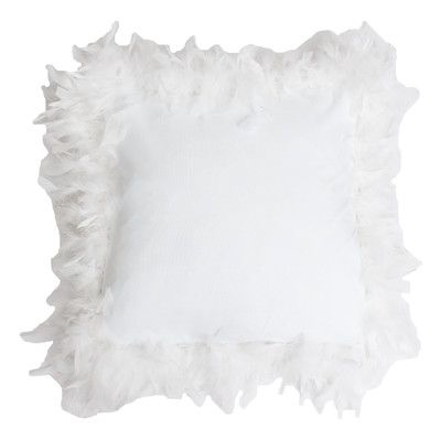 Thro by Marlo Lorenz Mary Feather Trim Throw Pillow Color: