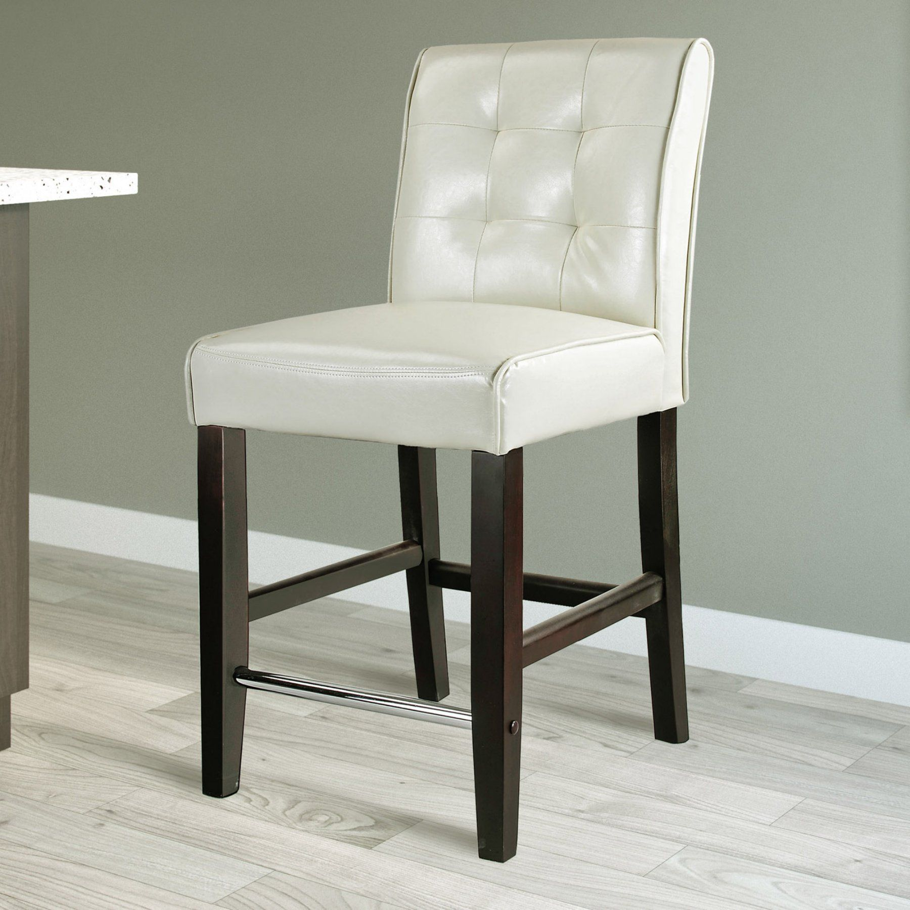 Magnificent Corliving Antonio Tufted Back Counter Height Stool Cream Bralicious Painted Fabric Chair Ideas Braliciousco