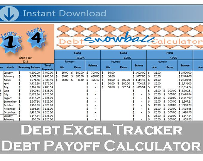 Debt Payoff Spreadsheet - Debt Snowball, Excel, Credit Card Payment - debt calculator spreadsheet