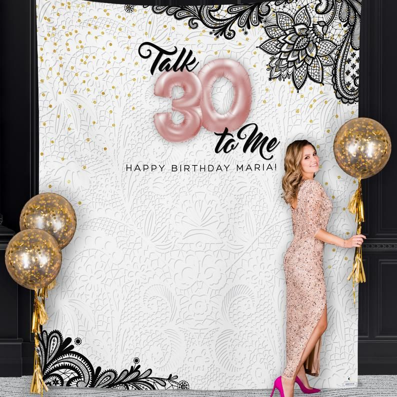 This 30th Birthday Talk 30 To Me Backdrop Is Perfect For Those Elegant 30th Birt 30th Birthday Party Decorations 30th Birthday Banner 30th Birthday Decorations