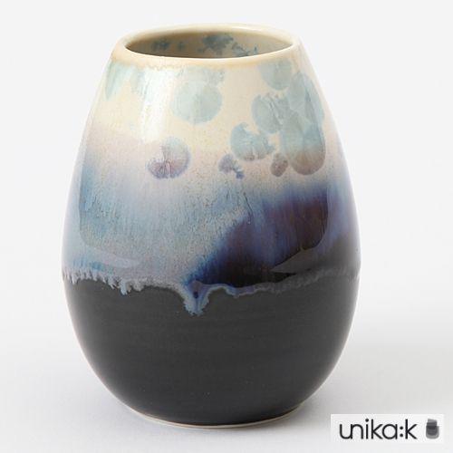 Wauw Design - Keramik håndlavet vase krystal lille, mørk, creme og blå