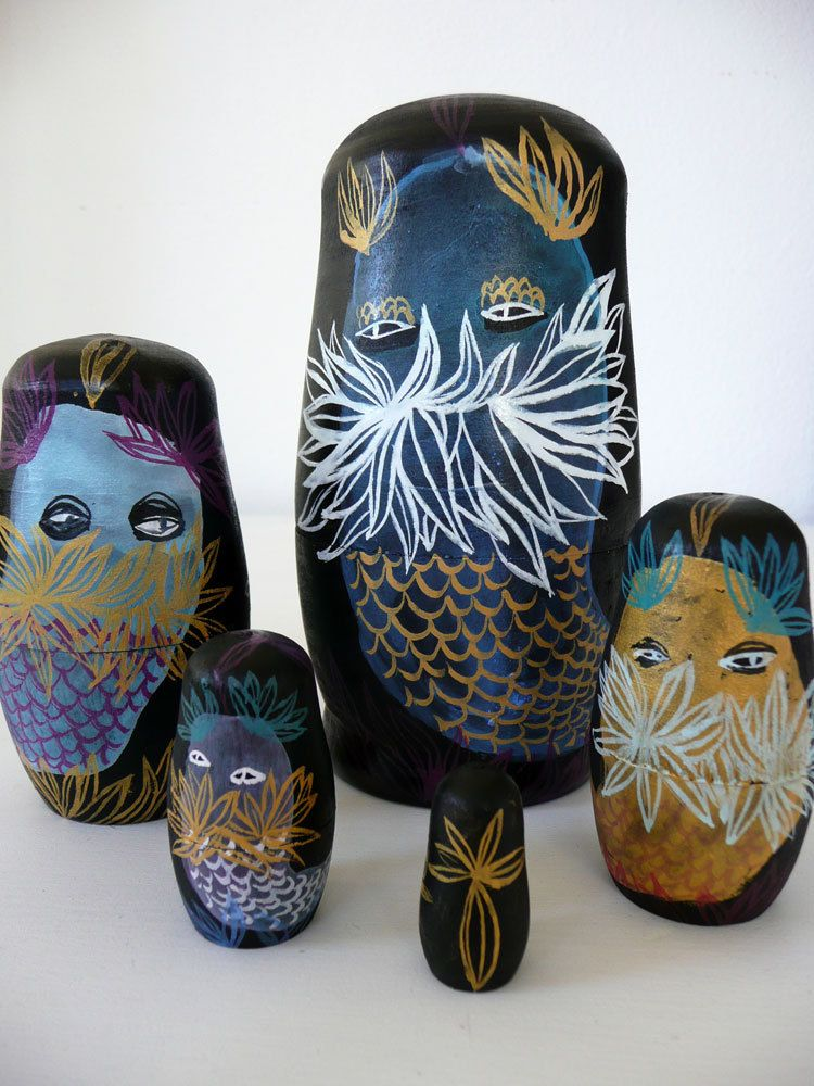 Sea Monster Family Five Piece Nesting Doll Set / Original Artwork - Emma Kidd