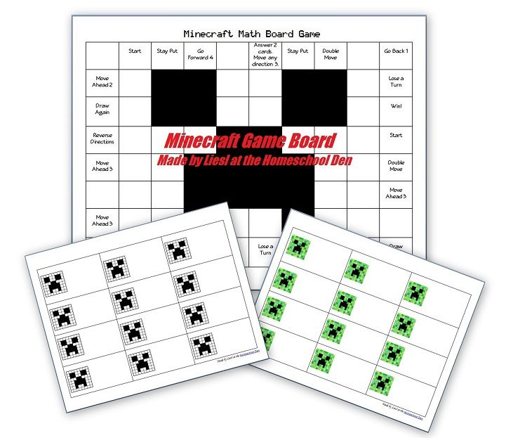 Free Minecraft Math Game Board For Any Math Practice Math Fractions Worksheets Math Math Center Games