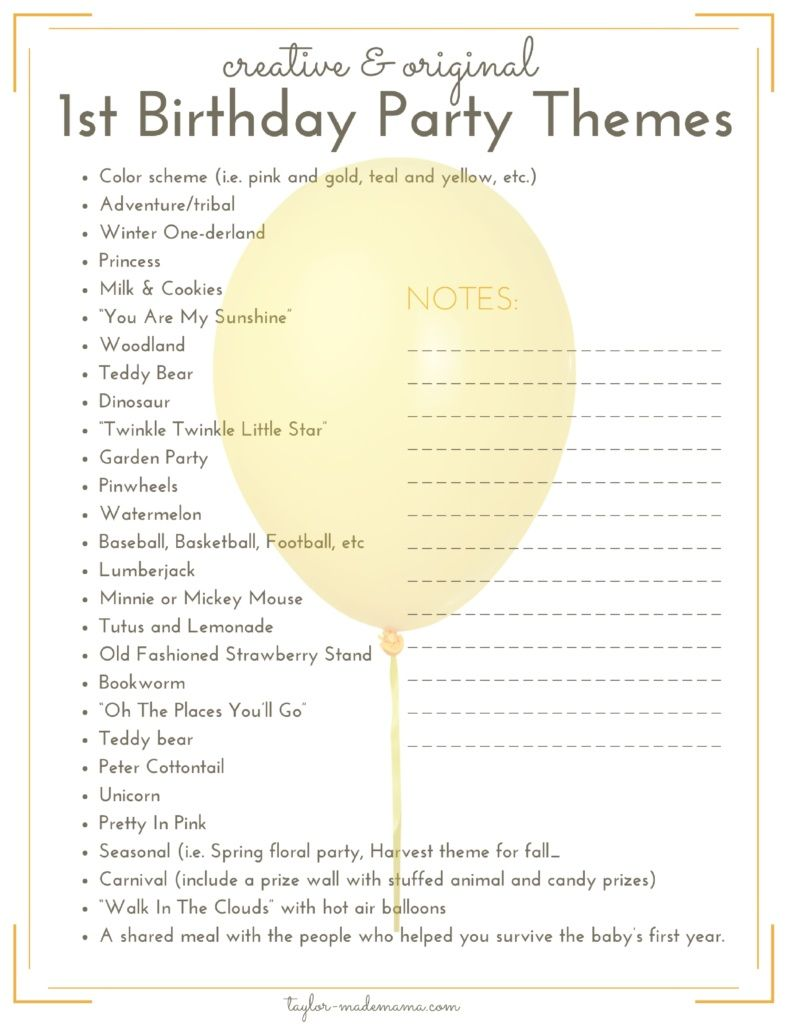 Playful image throughout 1st birthday party checklist printable