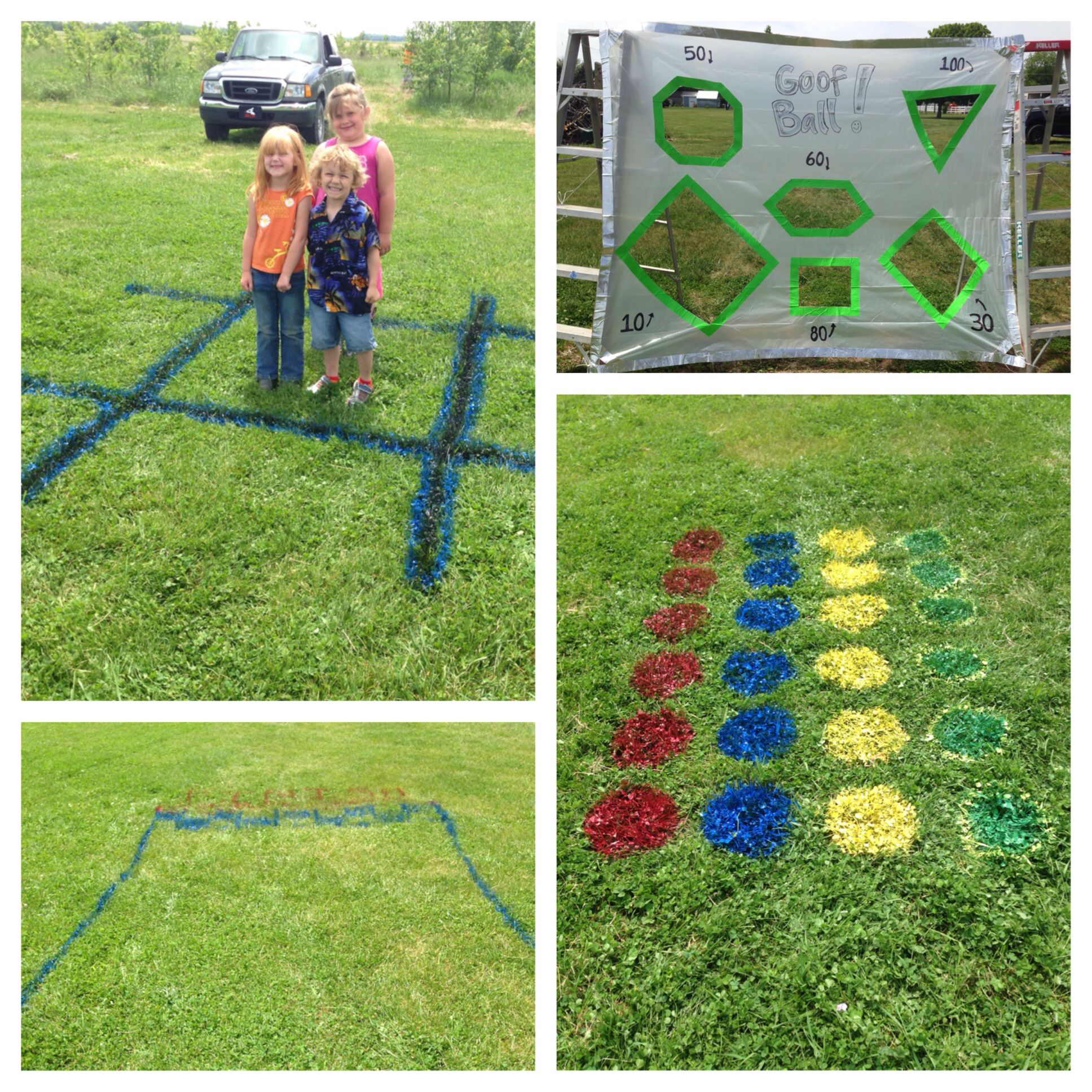 Summer fun outdoor yard games Races tic tac toe twister toss