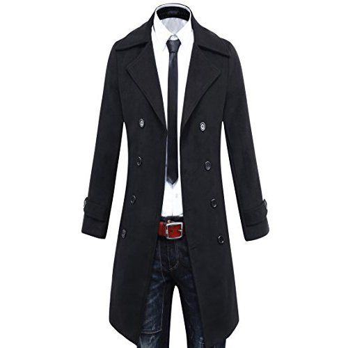 a57071f2 Men's Premium Wool Blend Double Breasted Long Pea Coat (US S(tag Asia L),  Black) at Amazon Men's Clothing store: