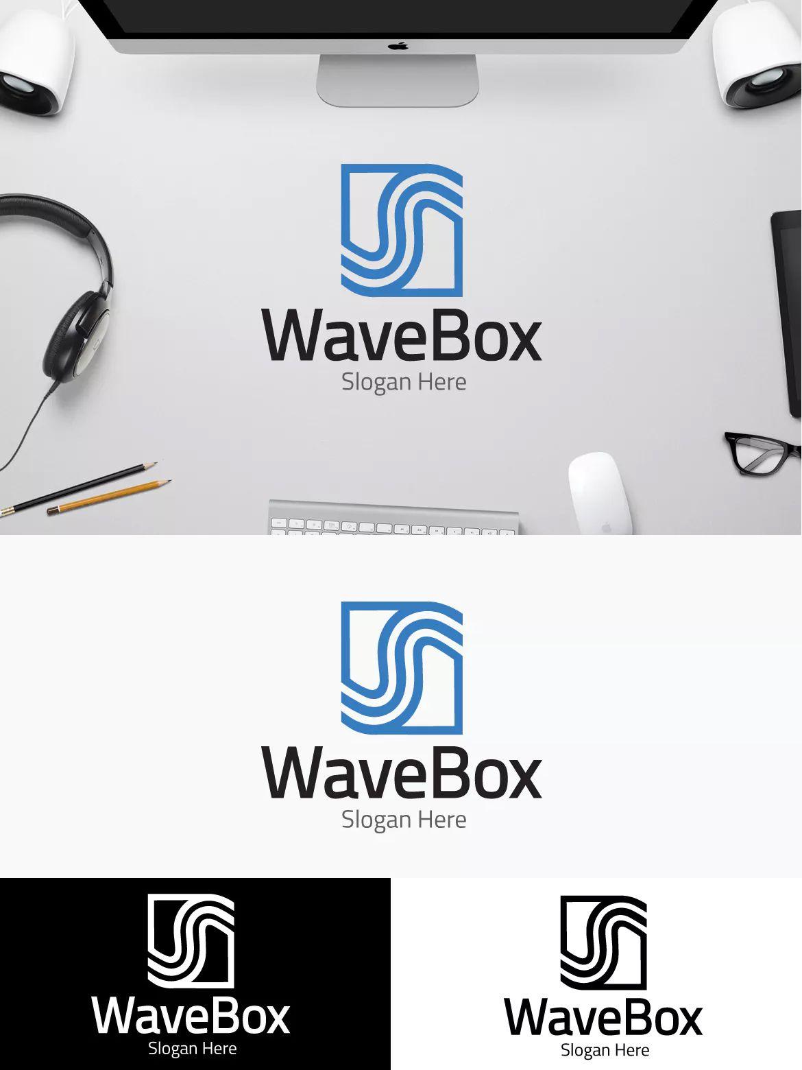 Wave Box Logo Template AI, EPS   Logo Templates   Logos, Logo