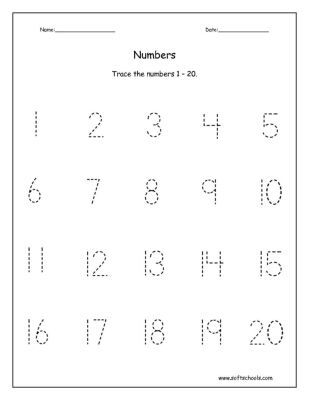 Printables Traceable Numbers Worksheets 1 20 trace the numbers 1 20 ...