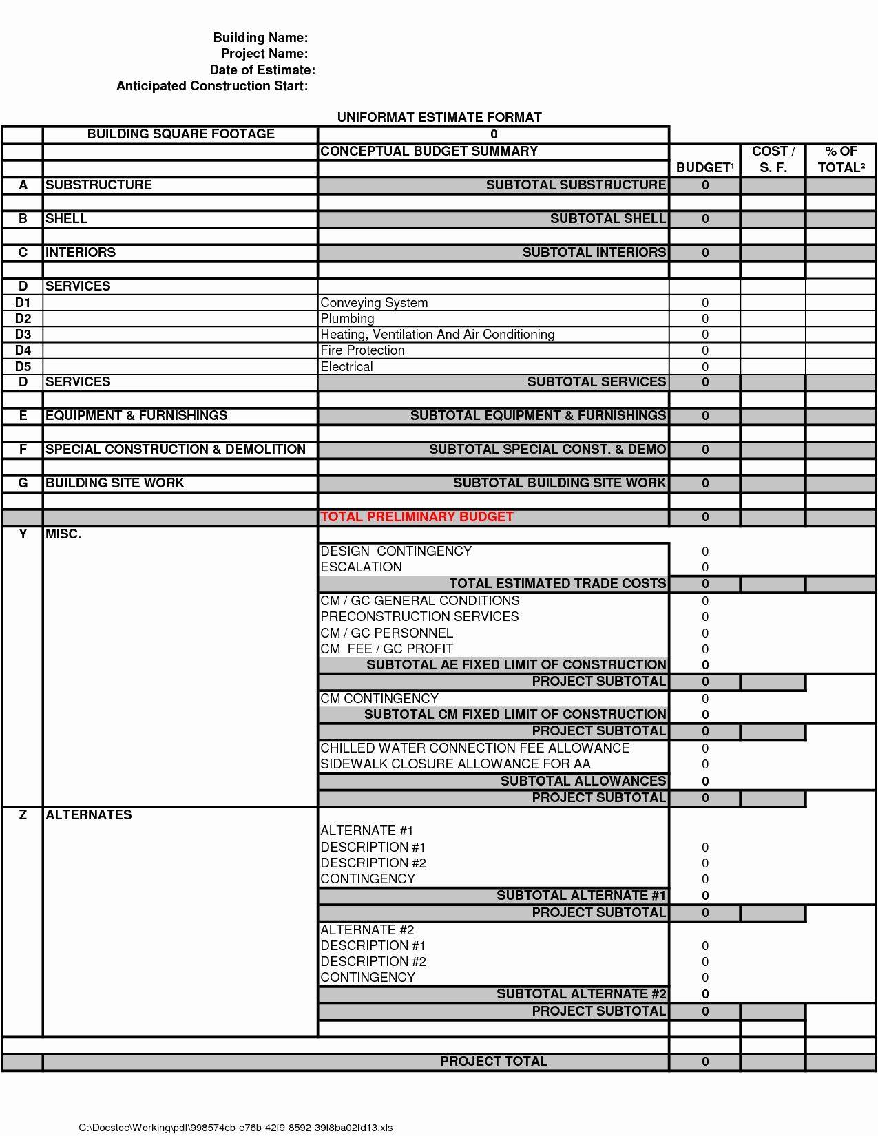 New Estimate Form Xls Xlsformat Xlstemplates Xlstemplate
