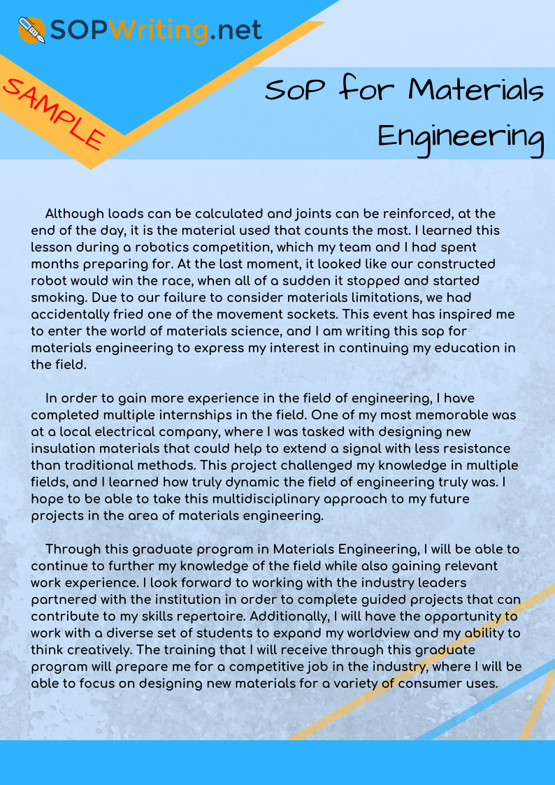 Writing Sop For Materials Engineering Will Become Easy If You Get Help From This Sample To See More Sam Materials Engineering Engineering Robotics Competition