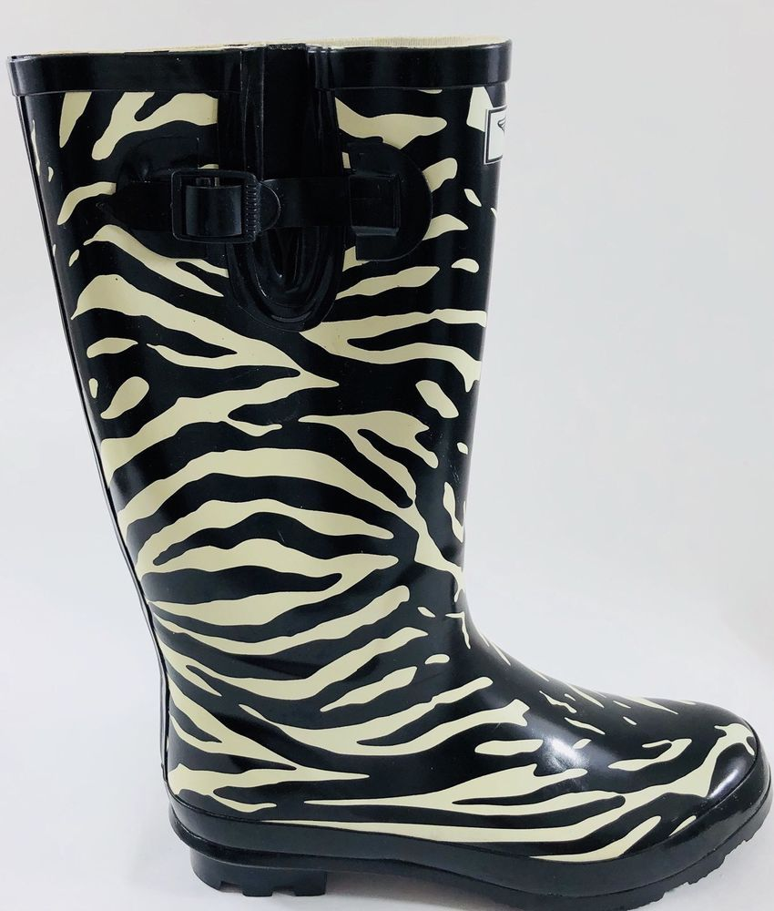0f458a33d82 FY Forever Young Rubber Rain Boots Women s 10 Balck And White Zebra Print  Buckle  ForeverYoung  RainBoots  CasualOutdoor