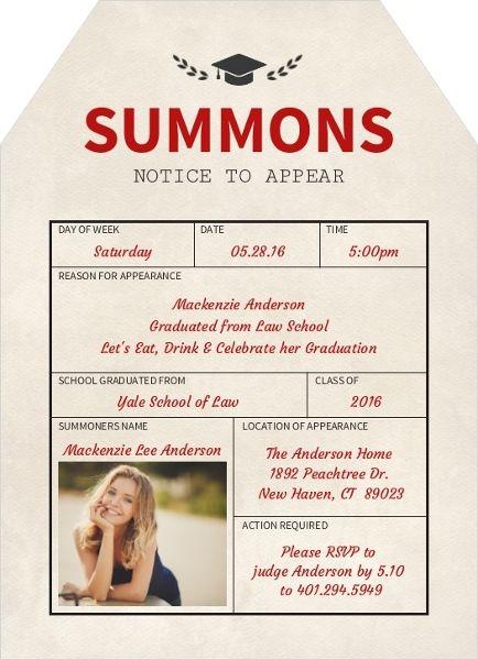 Summons Notice Law School Graduation Invitation Law School - fresh graduation invitation maker online free