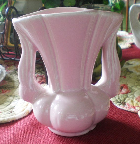 Antique Vintage Niloak Pottery Pink Vase 6 With By Neldamaescloset