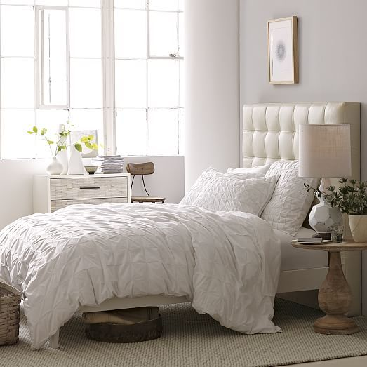 Tall Grid Tufted Headboard + Simple Bed Frame - Queen, Ivory ...