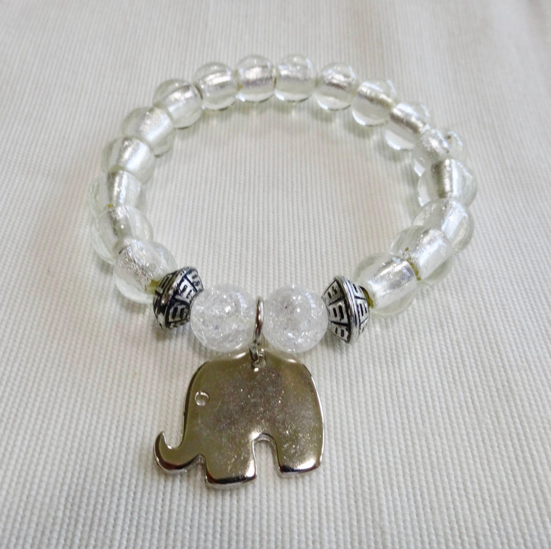 Beaded Bracelet with Elephant Charm