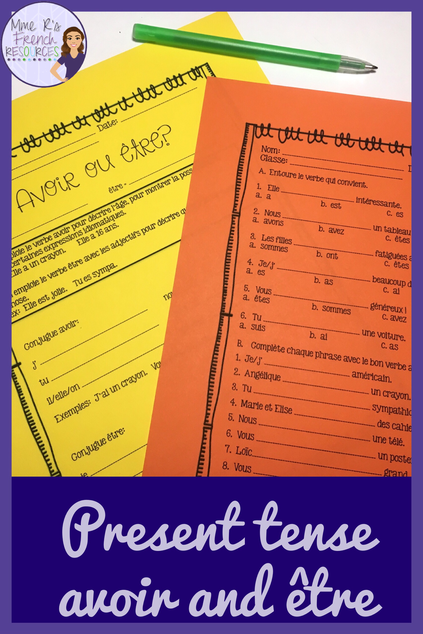 Avoir Etre French Verbs Notes And Worksheet