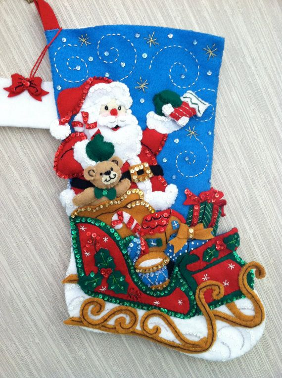 Santa and His Sleigh Completed Handmade Felt Christmas Stocking from ...
