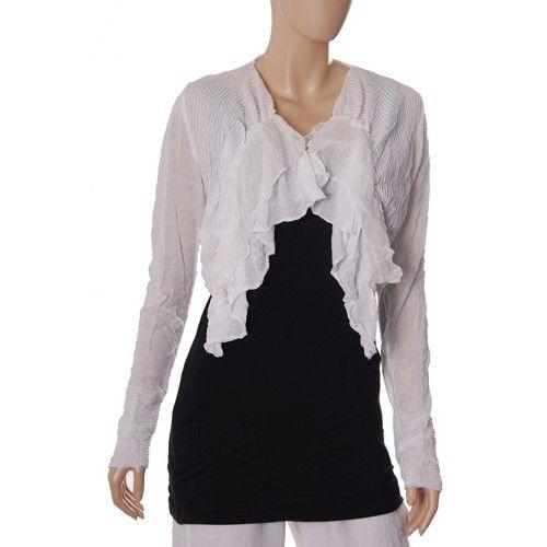 Lauren Vidal waterfall front fine knit shrug, white | HOLIDAYS ...
