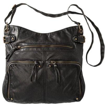 Washed Large Crossbody Bag Black