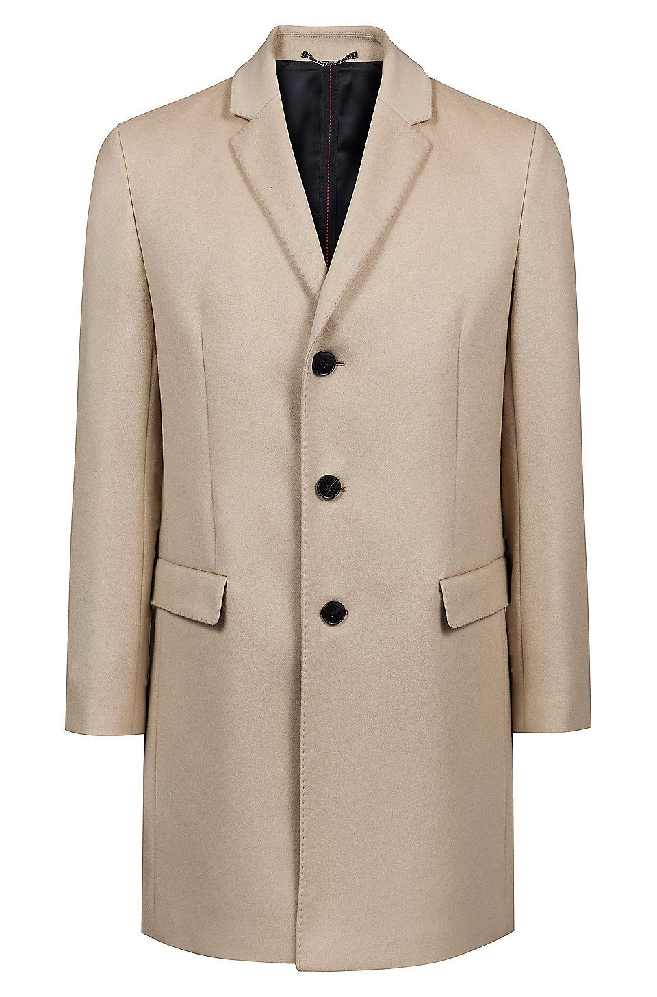 4df6b78ceacc HUGO BOSS Slim-fit coat in a wool-cashmere blend - Beige Casual Coats from  HUGO for Men in the official HUGO BOSS Online Store free shipping